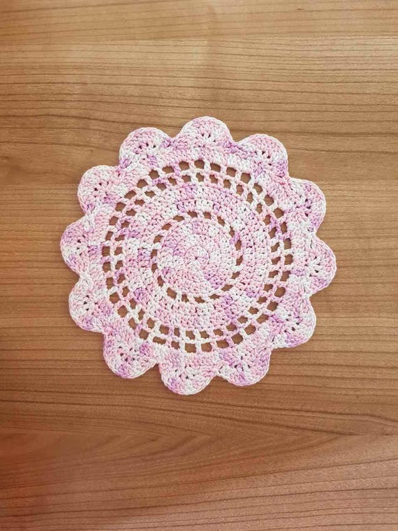 Häkeln Sie Deckchen Rosa Violett Weiß Bunt Deckchen Etsy