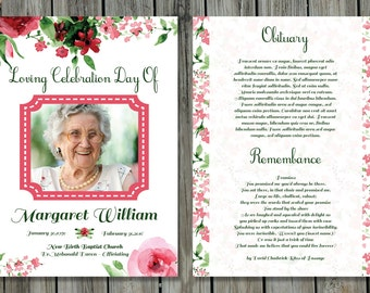 funeral program template 5x7 funeral card template etsy
