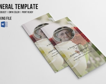 trifold funeral program template obituary template ms etsy