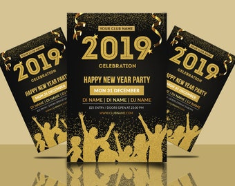 new year party invitation flyer template new year invitation card ms word template instant download