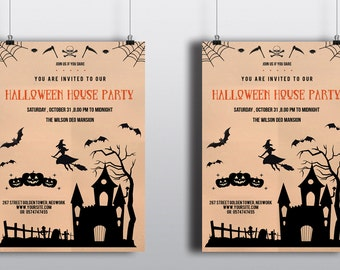 Spider Halloween Flyer Template Photoshop And Microsoft Word