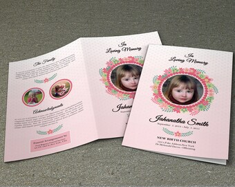 Child Funeral Program Template | Memorial Program | Obituary Program |  Photoshop And MS Word Template | Instant Download  Fp 045