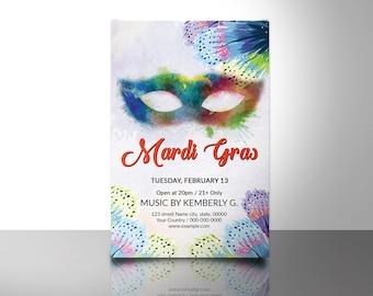 Karneval Party Flyer Vorlage Karneval Plakat Mardi Gras Etsy