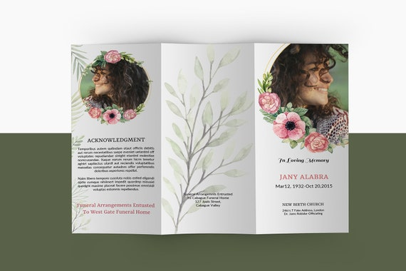 Trifold Funeral Program Template Printable Floral Memorial Etsy