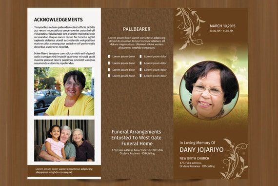 trifold funeral program template obituary template etsy
