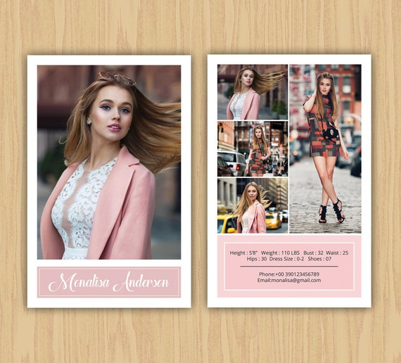 Fashion Model Comp Card Template Modeling Comp Card MS Word - Model comp card template