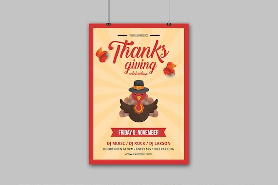 Thanksgiving Invitation Flyer Printable Thanksgiving Party Flyer Template Ms Word Photoshop Element Template Instant Download