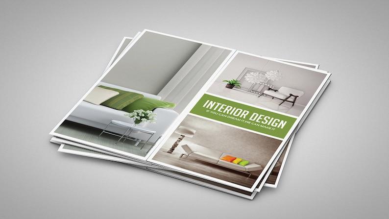 Interior Design Brochure Template | Printable Gate Fold Brochure Template |  Photoshop Template | Instant Download