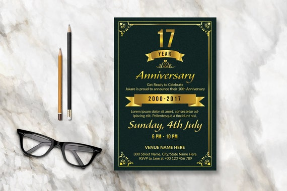anniversary invitation flyer template 2 size 4x6 and 8 5x11 etsy