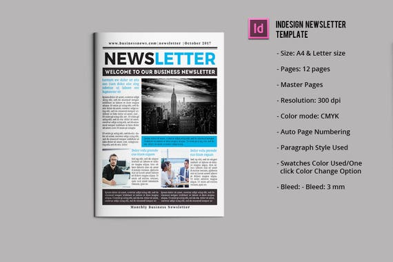 Business newsletter template 12 pages indesign ms word etsy image 0 fbccfo Image collections