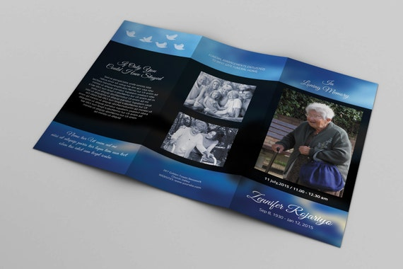 Trifold Funeral Program Template Memorial Program Obituary Etsy