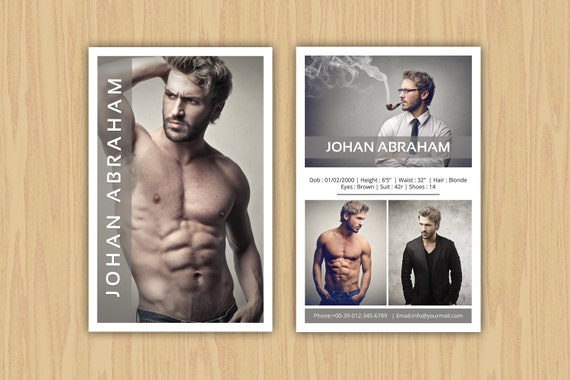 Model Comp Card Template Modeling Photoshop