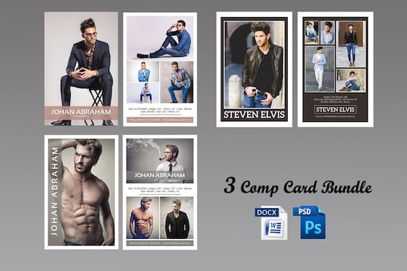 Model Comp Card Template Bundle Modeling Comp Card - Model comp card template