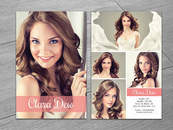 modeling comp card template fashion model card microsoft etsy