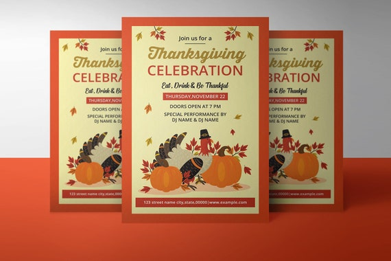 Printable Thanksgiving Party Flyer Template Thanksgiving Invitation Flyer Ms Word Photoshop Element Template Instant Download