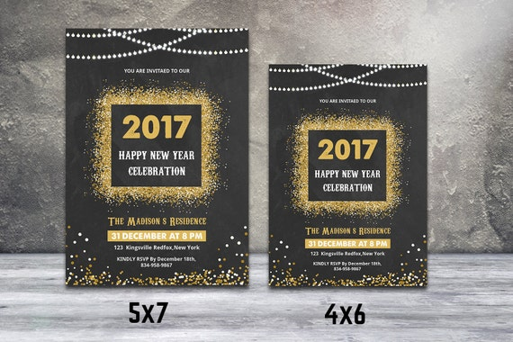 New Year Party Invitation Flyer Template New Year Invitation Etsy