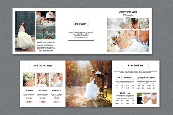 wedding photography brochure 5x5 in square trifold pricing etsy