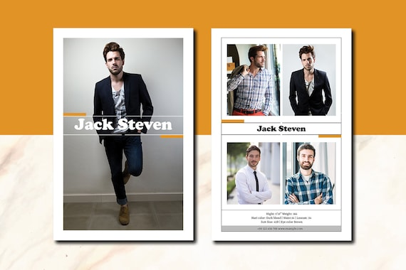 Printable Modeling Comp Card Template Fashion Model