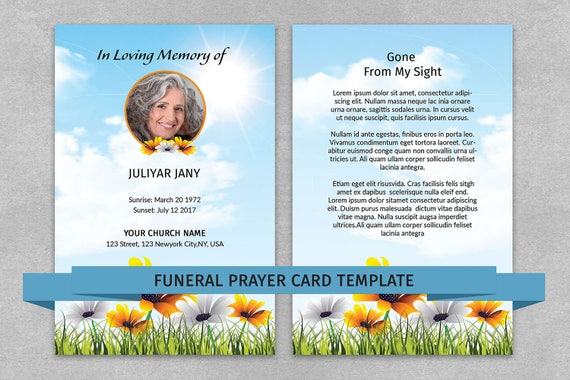 Memorial Prayer Card Template Funeral Prayer Card Editable Etsy