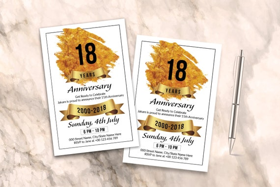 Anniversary Invitation Flyer Template Ms Word Photoshop Elements Template Instant Download