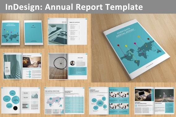 InDesign Geschäftsbericht Vorlage 16 Seiten V01 | Etsy