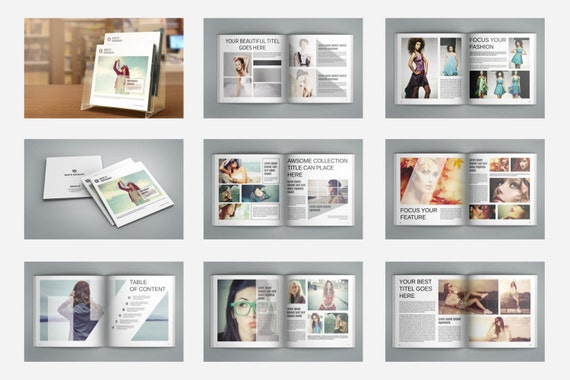 photography magazine template square fashion lookbook etsy