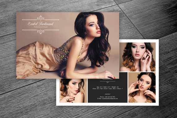 Modeling Comp Card Template Fashion Model Comp Card Etsy