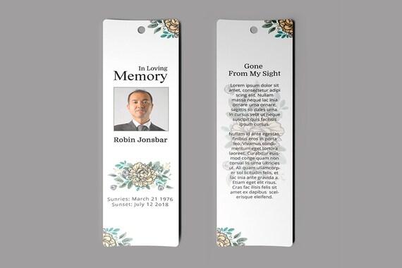 Funeral Bookmark Template Memorial Floral