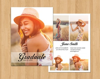 Senior Graduation Announcement Template, Graduation Invitation Template | Photoshop & Elements Template, Instant Download G-11