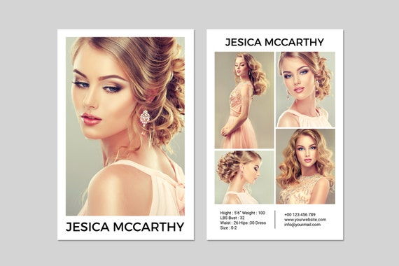 Modeling Comp Card Fashion Model Comp Card Template Etsy