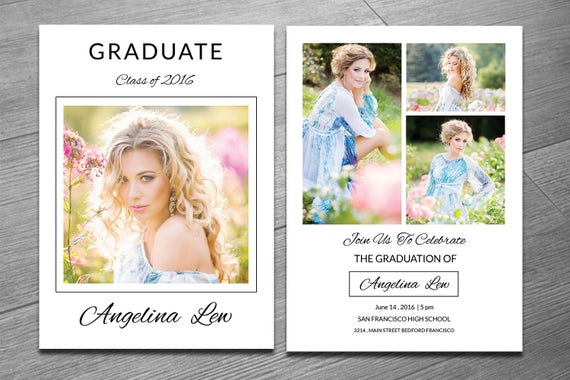 senior graduation announcement template graduation etsy