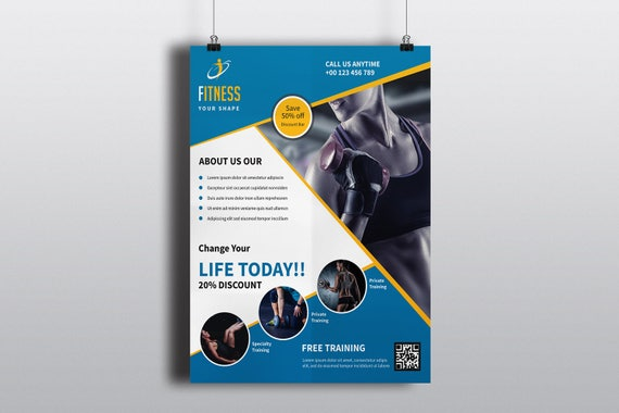 Fitness Club Flyer Template Gym Flyer Template Photoshop | Etsy