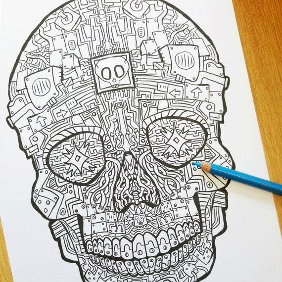 Robot Sugar Skull Coloring Sheet Sugar Skulls Book 2 Etsy