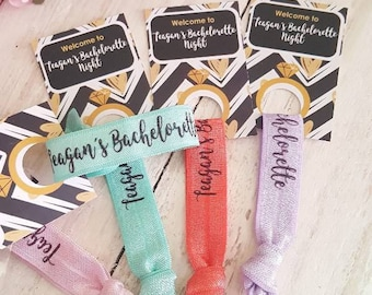 YOU DESIGN Bachelorette Party Hair Ties - Bachelorette Party Favors - Bachelorette Hair Ties - Hen Party Favors - Custom Hair Ties Favors