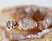 April Birthstone • Raw Diamond Ring • Lake County Diamond • Alternate Engagement Ring • Copper Ring • Tri Stone Ring