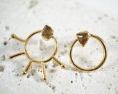 Mismatched Gold Earrings . Moon & Sun Earrings