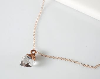 Raw Herkimer Diamond Necklace • Rose Gold Necklace • Herkimer Diamond • Raw Diamond Necklace • Raw Crystal Necklace • 5 Year Anniversary