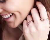 Rose Quartz Crystal Stacking Ring Raw Rose Quartz Raw Birthstone Ring Pink Quartz Ring Gift for Girlfriend Raw Stone Ring
