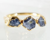 Raw Sapphire and Gold Stacking Ring / Trinity Ring / Mother's Ring / September Birthstone / Raw Stone Ring