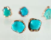Turquoise Stud Earrings Raw Stone Earrings Copper Earrings Mineral Jewelry Arizona Turquoise Gift for Her