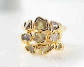 Raw Citrine Ring • Gold Ring • Raw Stone Stacking Ring • Monotone Ring • Minimal Jewelry • November Birthstone