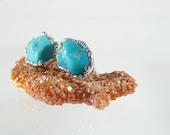 Raw Turquoise Earrings • December Birthstone • Turquoise Stud Earrings • Tiny Stud Earrings • Raw Stone Earrings • Turquoise Jewelry