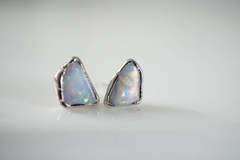 Raw Opal Stud Earrings \u2022 Opal Earrings \u2022 October Birthstone Jewelry \u2022 Gift for Bridesmaid