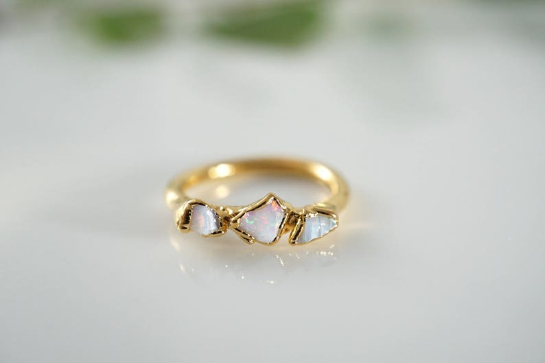 Opal Ring \u2022 Raw Opal Ring \u2022 Opal \u2022 October Birthstone \u2022\u00a0Gift for Mom \u2022 Triple Stone Ring \u2022 Gold Ring \u2022 Multistone Ring \u2022\u00a0Birthstone Jewelry