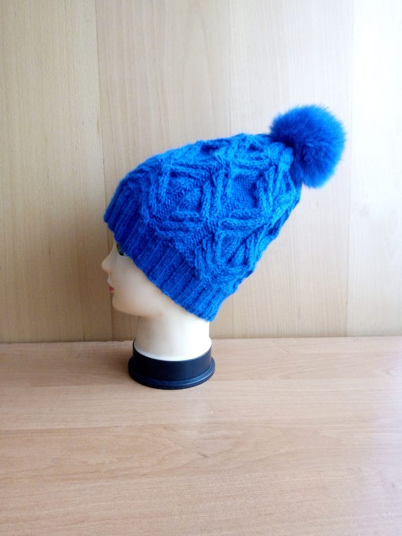 Royal blue winter hat womens trendy knit winter accessory  ab132549e5b