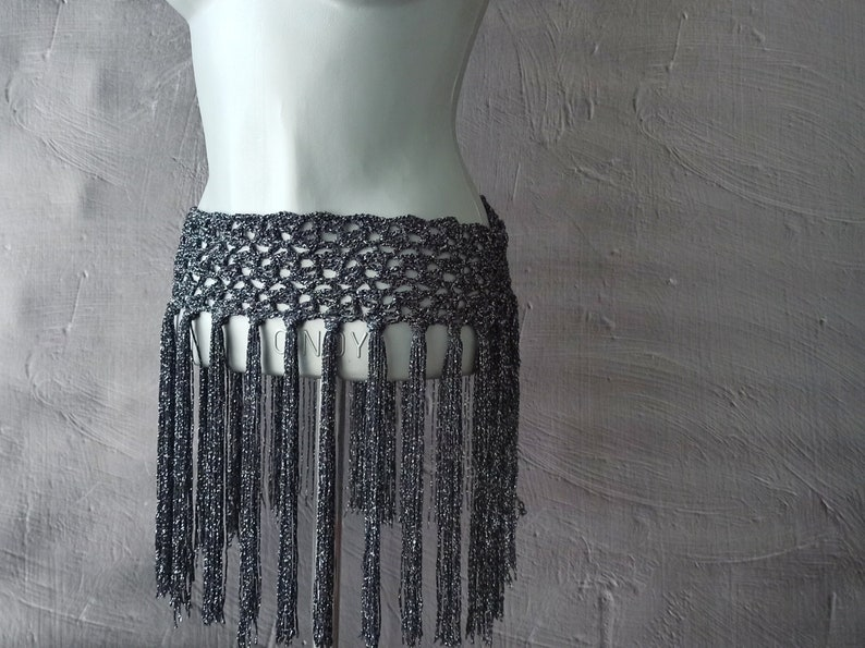 Belly dance belt tribal Fringe hip scarf Sparkly hip belt