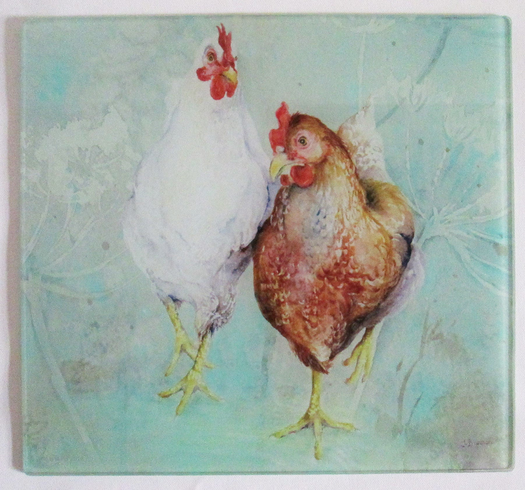 Chickens glass chopping board cutting board worktop saver