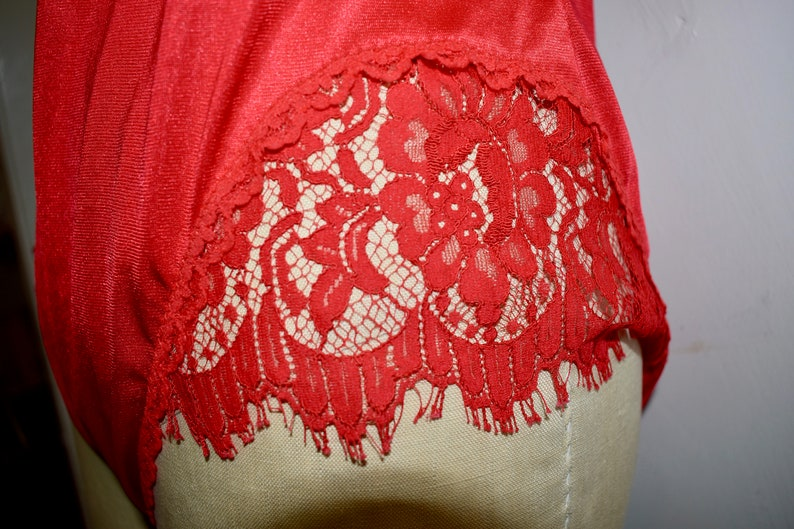 Red satin and eyelash lace teddy