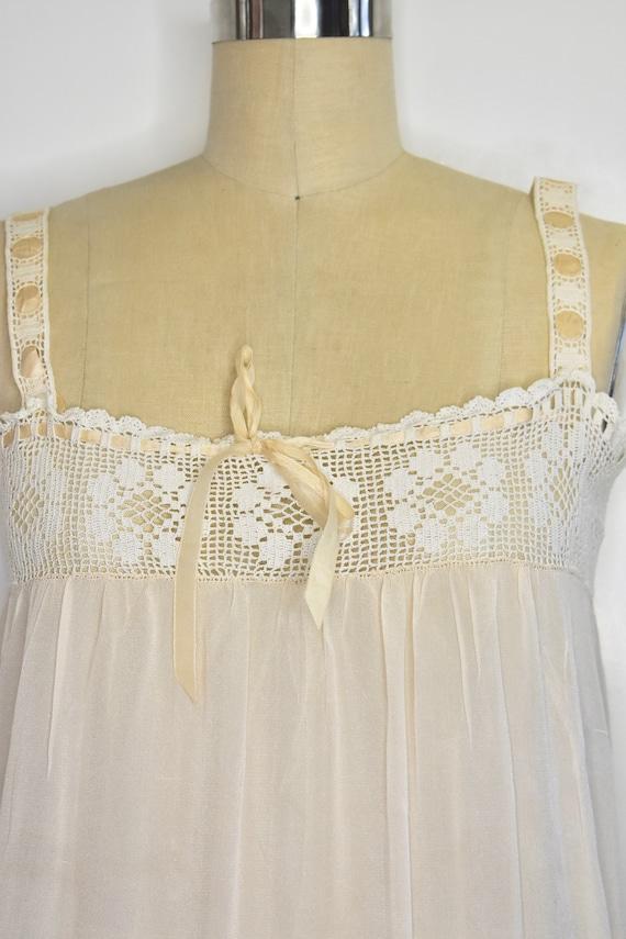 Vintage 1920's silk slip with crochet top