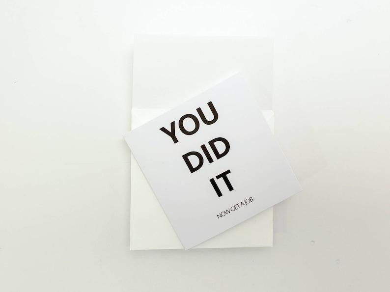 Minimalist Tiny Graduation Greeting Card Funny Graduation Card